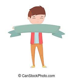 happy young man cartoon with ribbon