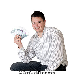 Happy young man holding a money
