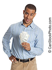 Happy young man holding at fan of dollar bills