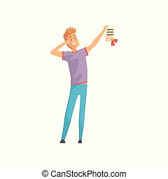 Happy young man holding diploma with red ribbon. Successful or lucky guy. Cartoon male character in casual outfit: t-shirt and jeans. Flat vector illustration