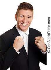 Happy young man in suit