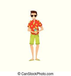 3cce1744b Happy young man in sunglasses and Hawaiian aloha shirt enjoying vacations  and drinking cocktail vector Illustration