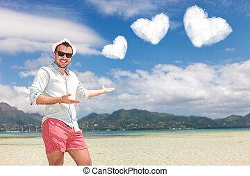man invites you to spend your honeymoon on the beach