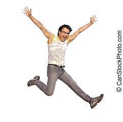Happy young man jumping in air with arms extended isolated