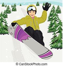 happy young man jumping with snowboard at ski resort