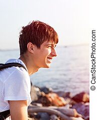 Happy Young Man outdoor - Happy Young Man on the Sea...
