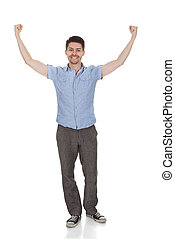 Young Man Raising Arms