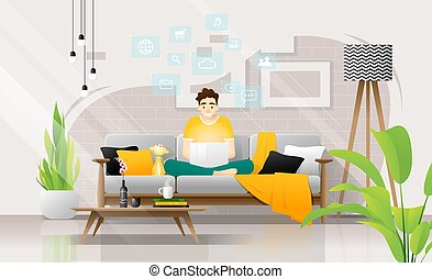 Happy young man sitting on sofa with laptop in living room, working at home