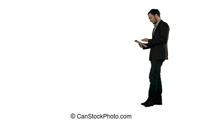 Happy Young Man Using Digital Tablet  on white background isolated