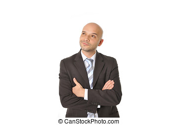 Happy Young Man with Bald Head Thinking Isolated White -...