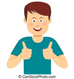 Happy young man with thumbs up