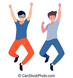 happy young men celebrating characters