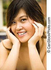 Happy Young Model Posing Outdoor