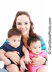 Happy young mother with two babies on a white background.