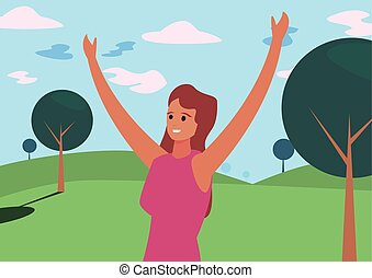 happy young people woman outdoors