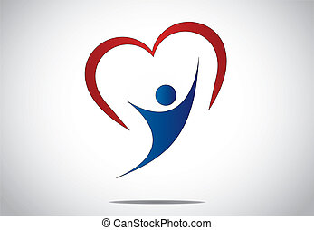 happy young person jumping with joy & happiness with red heart. youthful girl or woman dancing with both hands up with red colorful heart shaped symbol behind - concept design illustration art