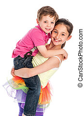 Happy Young Siblings. - Brother and sister isolated on white...
