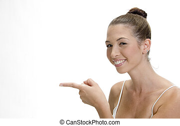 happy young smiling woman pointing