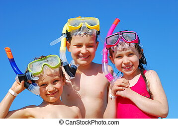 Happy young snorkelers