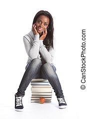 Happy young student girl with education books - Beautiful...