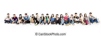 happy young student Group showing smart phone