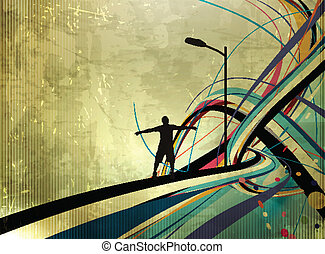 vector illustration of success man standing with raised arms abstract background