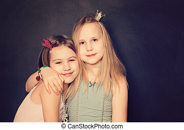 Happy Young Teen Girls on background with copy space