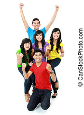 happy young teenager together isolated over white background