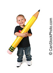 Happy Young Toddler Schoolage Child Holding Large Pencil