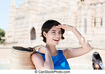 Happy young tourist in Mallorca, Spain