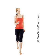 happy young walking fitness woman on white background