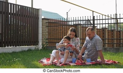 happy young woman and man sit with little boy on lawn