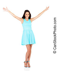 happy young woman arms open