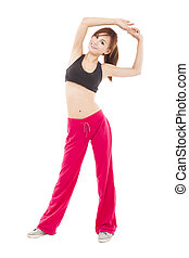 happy young woman doing stretch exercise