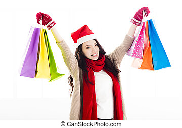 Happy young woman  enjoy Christmas shopping