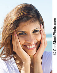 happy young woman face