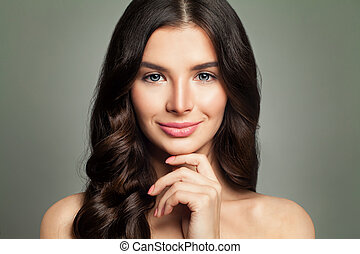 Happy Young Woman Fashion Model Smiling