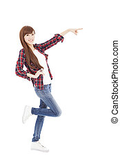 happy young woman hand pointing something