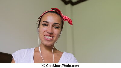 Happy Young Woman Having Video Chat Call, Smiling Girl...