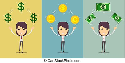 Happy young woman holding money - us dollars - loan, savings and lottery concept