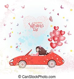 happy young woman in a car with red heart air balloons. happy va