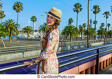 happy young woman in Barcelona, Spain - Summertime at...