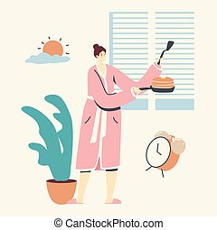 Happy Young Woman in Pink Robe Holding Pan with Stack of Baked Pancakes for Breakfast. Female Character Morning Routine Cooking Meal for Family, Domestic Culinary, Bakery. Linear Vector Illustration