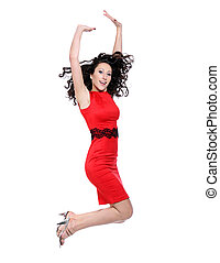 Happy young woman in red dress