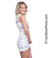 Happy young woman in sexy dress