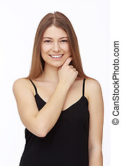 Happy young woman isolated on white background