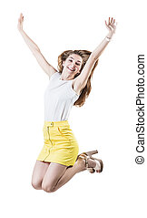 Happy young woman jumping.