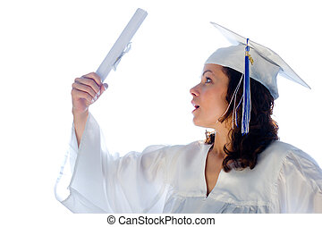 Happy young woman, just graduated with diploma.
