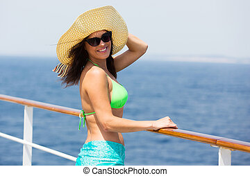 young woman on cruise looking back