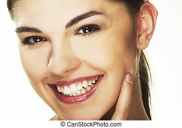 happy young woman on white background